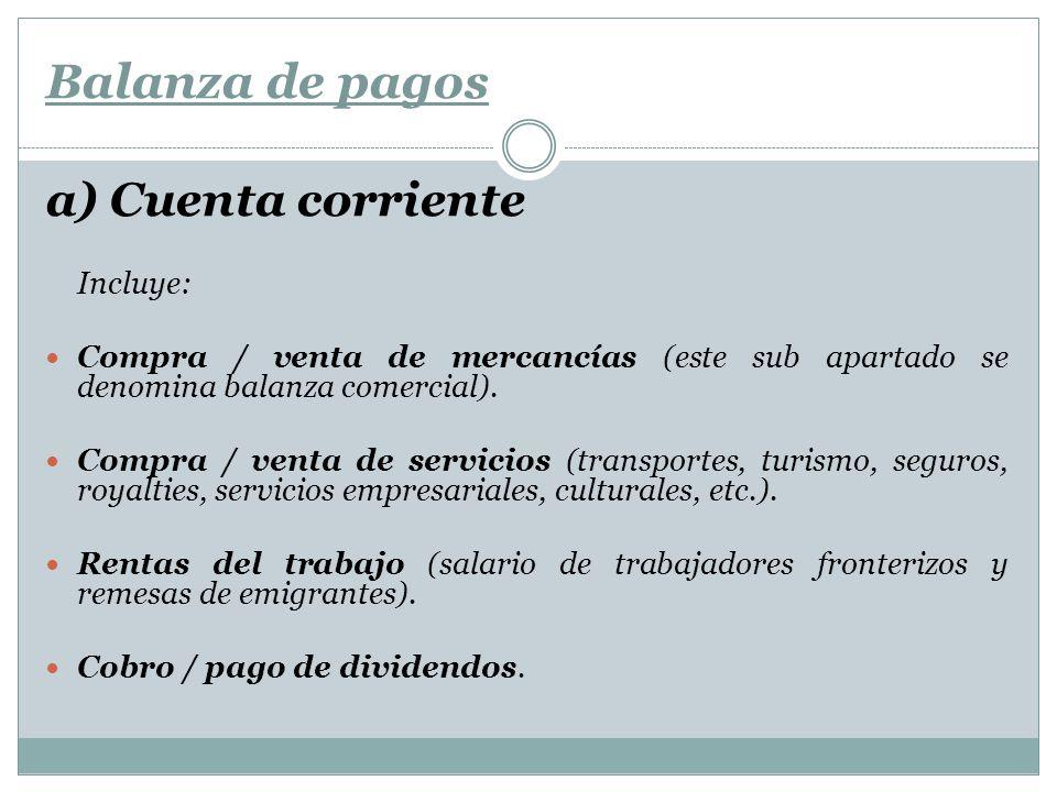 Balanza de pagos a) Cuenta corriente Incluye: Compra / venta de mercancías (este sub apartado se denomina balanza comercial). Compra / venta de servic