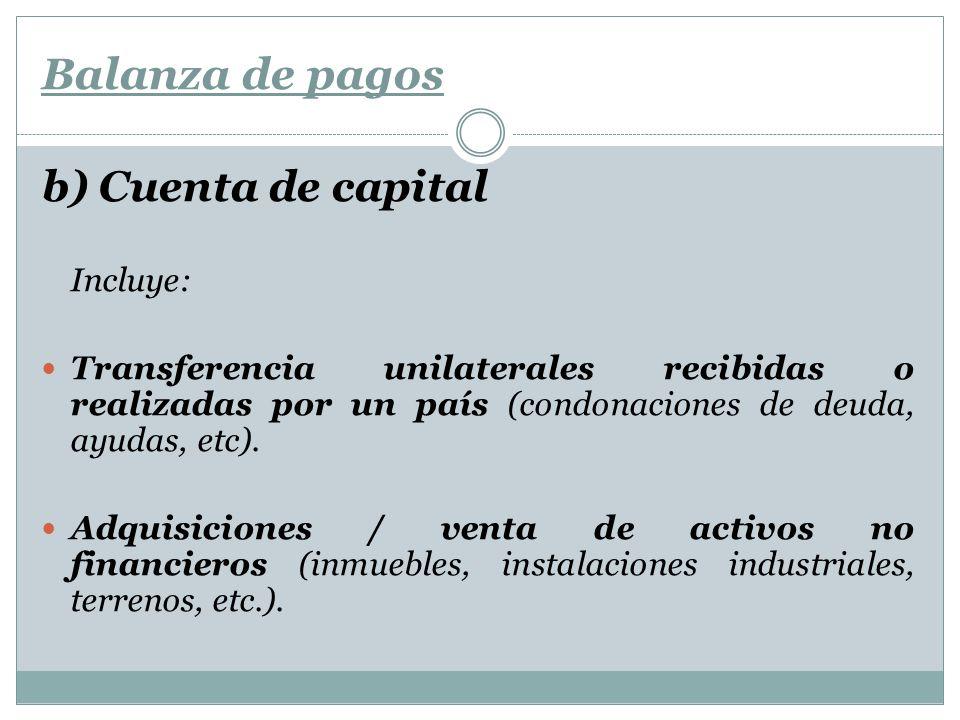 Balanza de pagos b) Cuenta de capital Incluye: Transferencia unilaterales recibidas o realizadas por un país (condonaciones de deuda, ayudas, etc). Ad