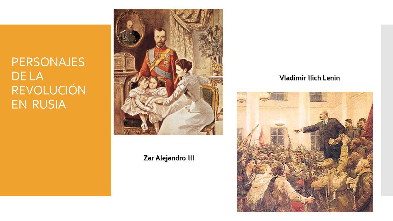 PERSONAJES DE LA REVOLUCIÓN EN RUSIA Zar Alejandro III Vladimir Ilich Lenin