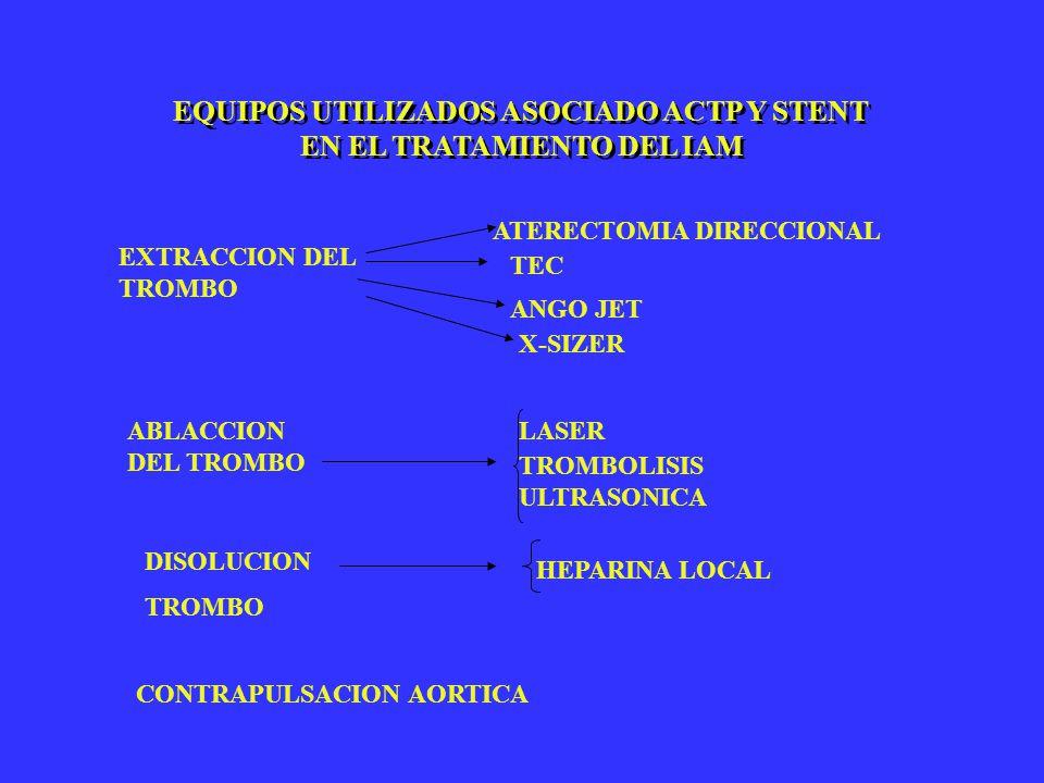 EQUIPOS UTILIZADOS ASOCIADO ACTP Y STENT EN EL TRATAMIENTO DEL IAM EXTRACCION DEL TROMBO ATERECTOMIA DIRECCIONAL TEC ANGO JET X-SIZER ABLACCION DEL TR