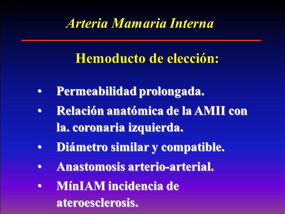 Permeabilidad prolongada.Permeabilidad prolongada. Relación anatómica de la AMII con la. coronaria izquierda.Relación anatómica de la AMII con la. cor