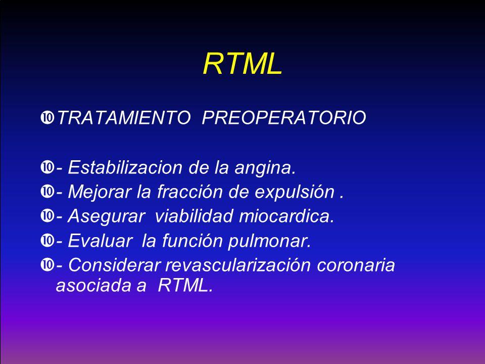 RTML TRATAMIENTO PREOPERATORIO - Estabilizacion de la angina. - Mejorar la fracción de expulsión. - Asegurar viabilidad miocardica. - Evaluar la funci