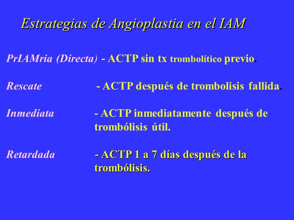 Estrategias de Angioplastia en el IAM PrIAMria (Directa) - ACTP sin tx trombolítico previo. Rescate - ACTP después de trombolisis fallida. Inmediata -