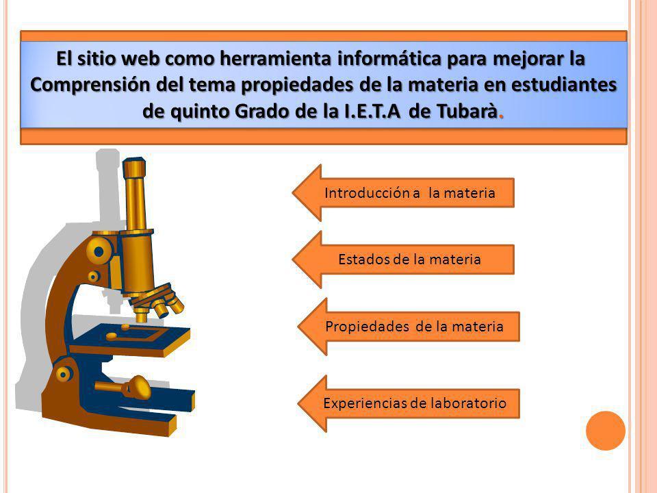 El sitio web como herramienta informática para mejorar la Comprensión del tema propiedades de la materia en estudiantes de quinto Grado de la I.E.T.A de Tubarà.