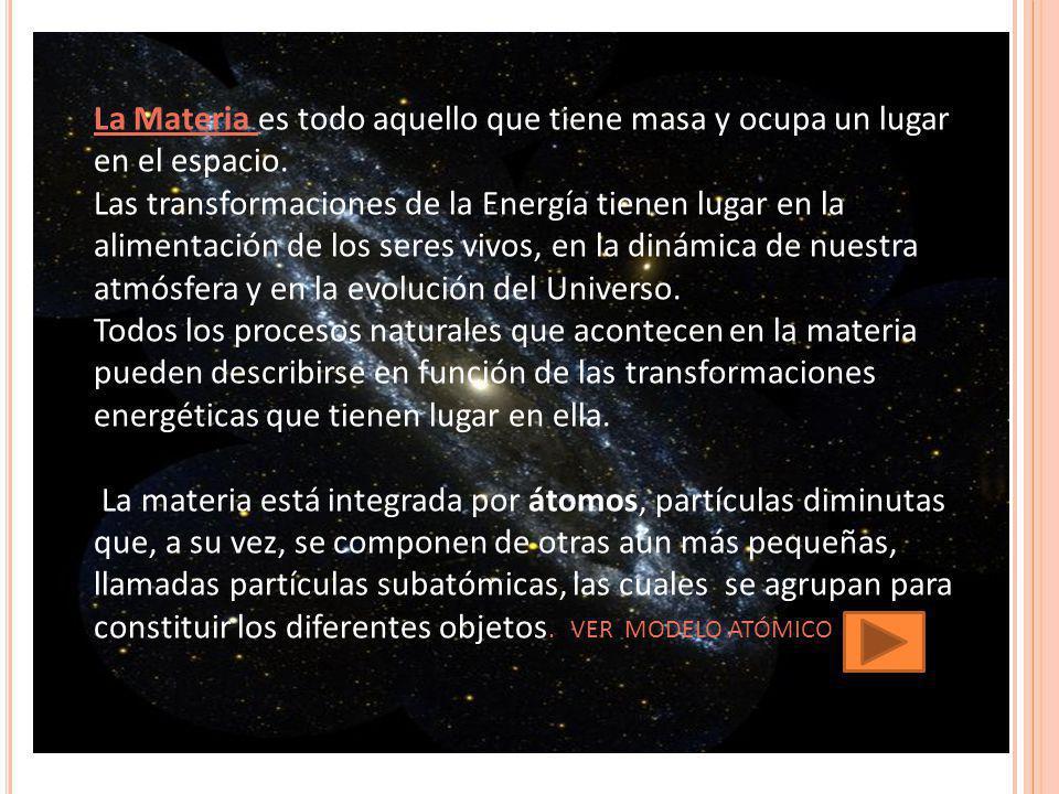 La Materia es todo aquello que tiene masa y ocupa un lugar en el espacio. Las transformaciones de la Energía tienen lugar en la alimentación de los se