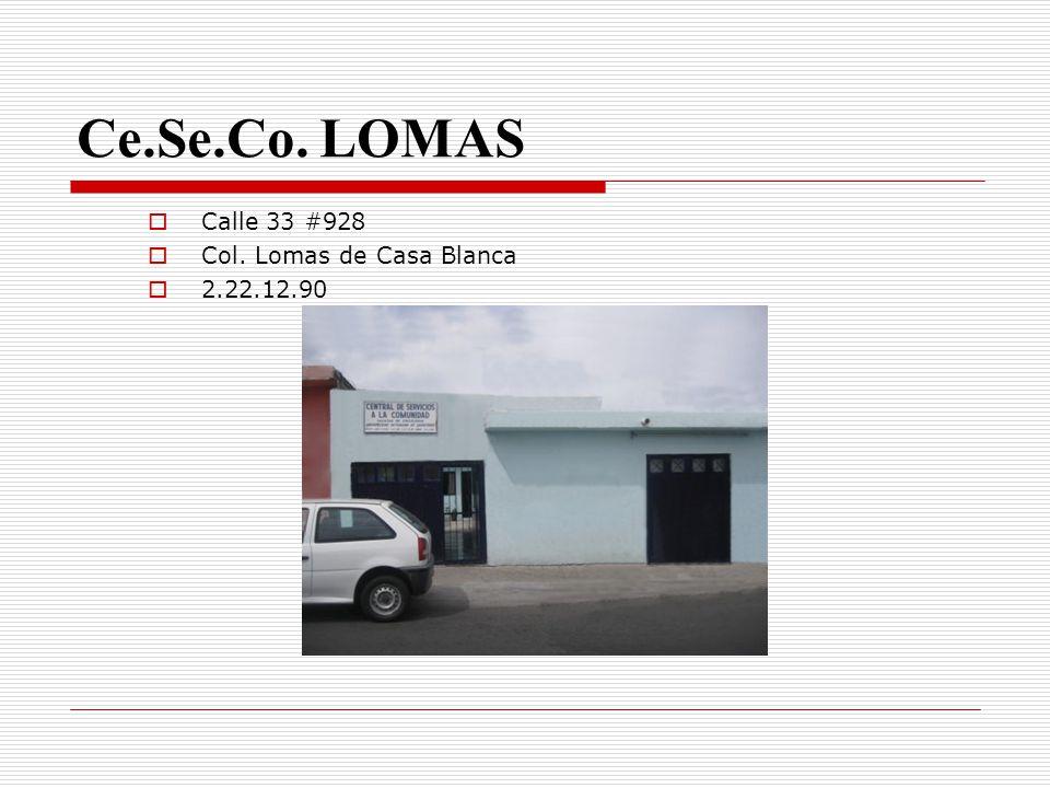 Ce.Se.Co. LOMAS Calle 33 #928 Col. Lomas de Casa Blanca 2.22.12.90