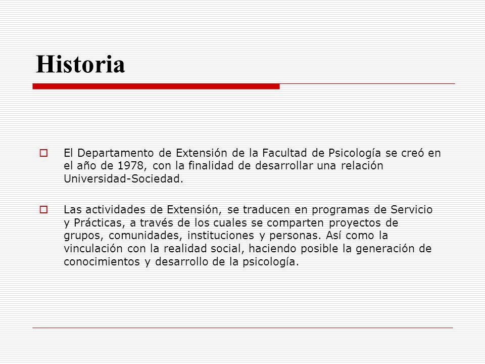 Historia El Departamento de Extensión de la Facultad de Psicología se creó en el año de 1978, con la finalidad de desarrollar una relación Universidad