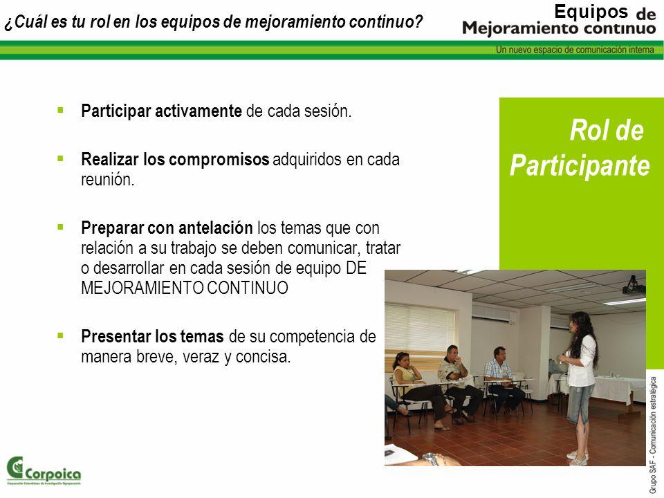 ¿Cuál es tu rol en los equipos de mejoramiento continuo? Participar activamente de cada sesión. Realizar los compromisos adquiridos en cada reunión. P