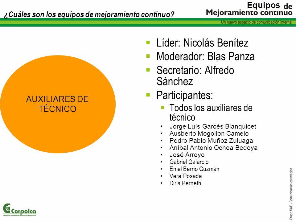 ¿Cuáles son los equipos de mejoramiento continuo? Líder: Nicolás Benítez Moderador: Blas Panza Secretario: Alfredo Sánchez Participantes: Todos los au