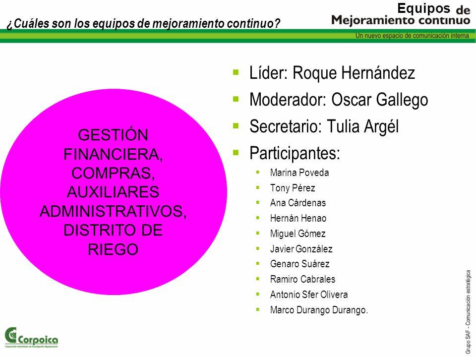 ¿Cuáles son los equipos de mejoramiento continuo? Líder: Roque Hernández Moderador: Oscar Gallego Secretario: Tulia Argél Participantes: Marina Poveda