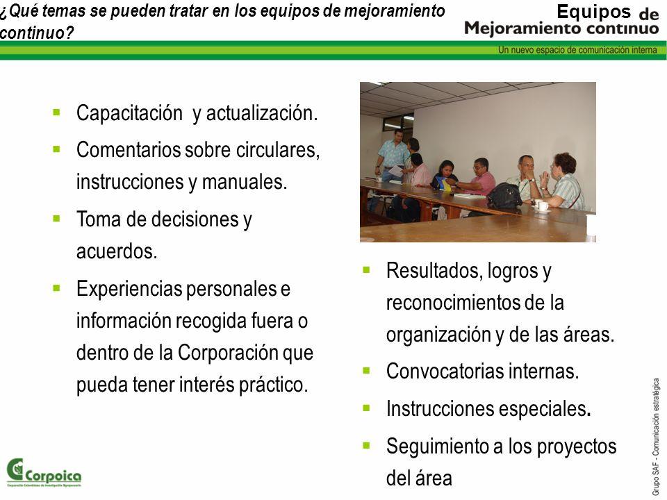 ¿Qué temas se pueden tratar en los equipos de mejoramiento continuo? Resultados, logros y reconocimientos de la organización y de las áreas. Convocato