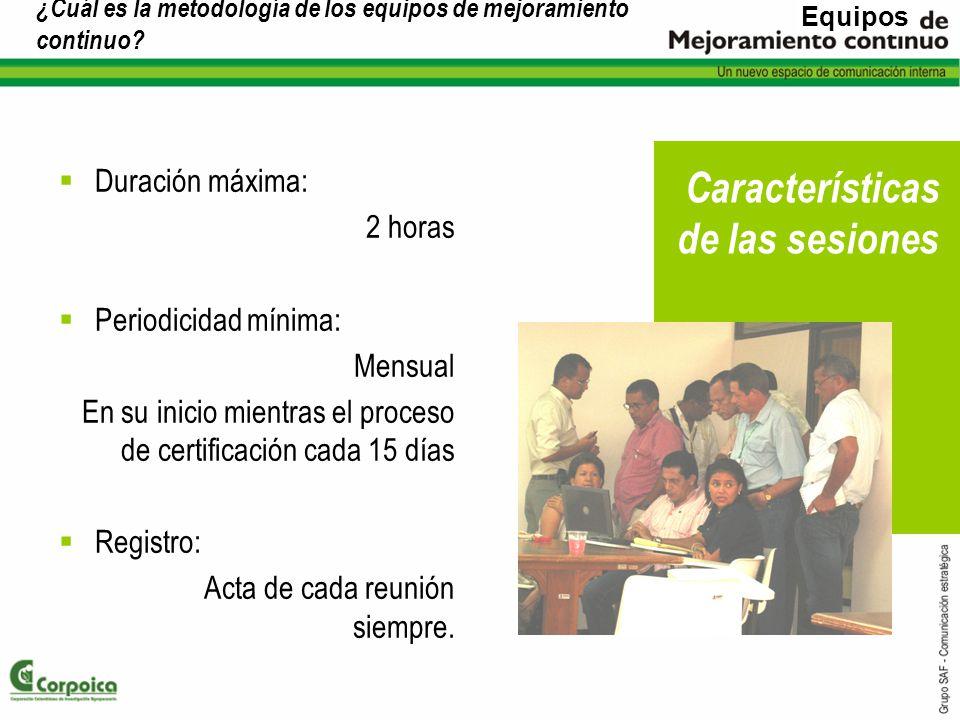 ¿Cuál es la metodología de los equipos de mejoramiento continuo? Duración máxima: 2 horas Periodicidad mínima: Mensual En su inicio mientras el proces