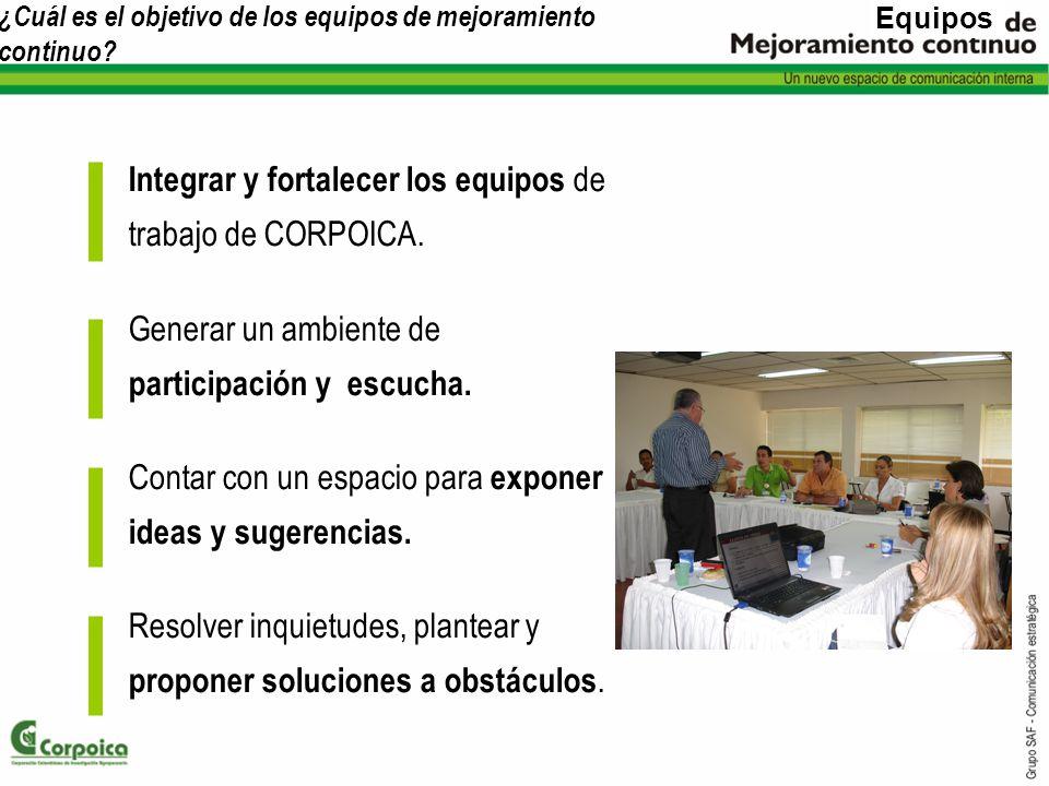 ¿Cuál es el objetivo de los equipos de mejoramiento continuo? Integrar y fortalecer los equipos de trabajo de CORPOICA. Generar un ambiente de partici