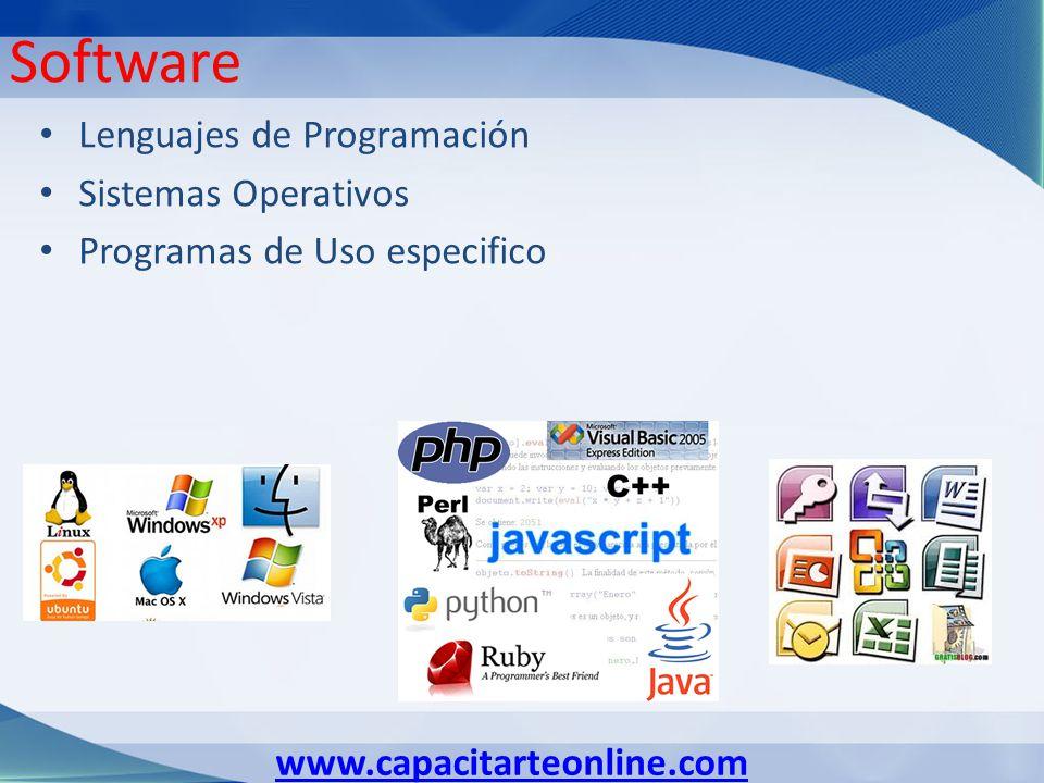 www.capacitarteonline.com Software Lenguajes de Programación Sistemas Operativos Programas de Uso especifico