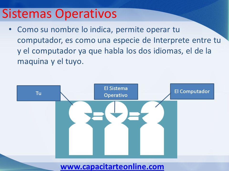 www.capacitarteonline.com Sistemas Operativos Como su nombre lo indica, permite operar tu computador, es como una especie de Interprete entre tu y el