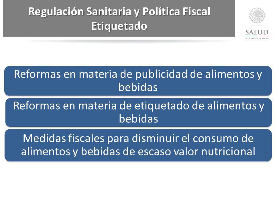 Regulación Sanitaria y Política Fiscal Etiquetado Reformas en materia de publicidad de alimentos y bebidas Reformas en materia de etiquetado de alimentos y bebidas Medidas fiscales para disminuir el consumo de alimentos y bebidas de escaso valor nutricional