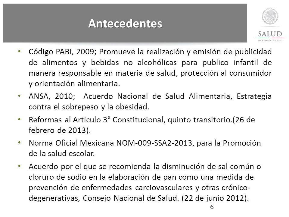 Código PABI, 2009; Promueve la realización y emisión de publicidad de alimentos y bebidas no alcohólicas para publico infantil de manera responsable en materia de salud, protección al consumidor y orientación alimentaria.