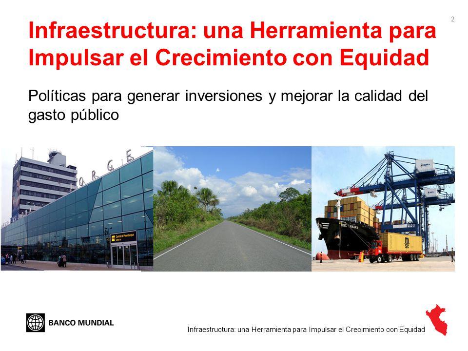 3 Los mensajes El Perú ha vuelto a poner énfasis en la inversión en infraestructura en los últimos años Para consolidar el crecimiento económico y reducir las brechas de desigualdad hacia futuro se requiere 1.Seguir adelante con el esfuerzo de aumentar la inversión en infraestructura de calidad – y expandir modalidades de financiamiento no tradicional como las APPs 2.Mejorar la planificación de la inversión en infraestructura 3.Invertir en mantenimiento 4.Fortalecer la coordinación entre diferentes niveles de gobierno para generar sinergias Infraestructura: una Herramienta para Impulsar el Crecimiento con Equidad