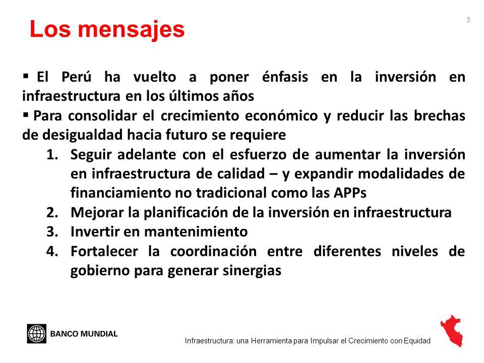 4 En los últimos años el Perú ha hecho esfuerzos significativos para mejorar la infraestructura Infraestructura: una Herramienta para Impulsar el Crecimiento con Equidad La inversión pública ha sobrepasado el 5% del PBI en los últimos dos años El paquete de estímulo fue un catalizador de infraestructura (US$3 000 millones o 2.5% del PBI - US$ 1,1 mil millones para caminos nacionales)