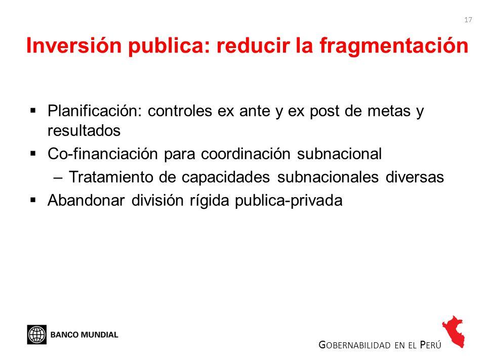 17 Inversión publica: reducir la fragmentación Planificación: controles ex ante y ex post de metas y resultados Co-financiación para coordinación subn