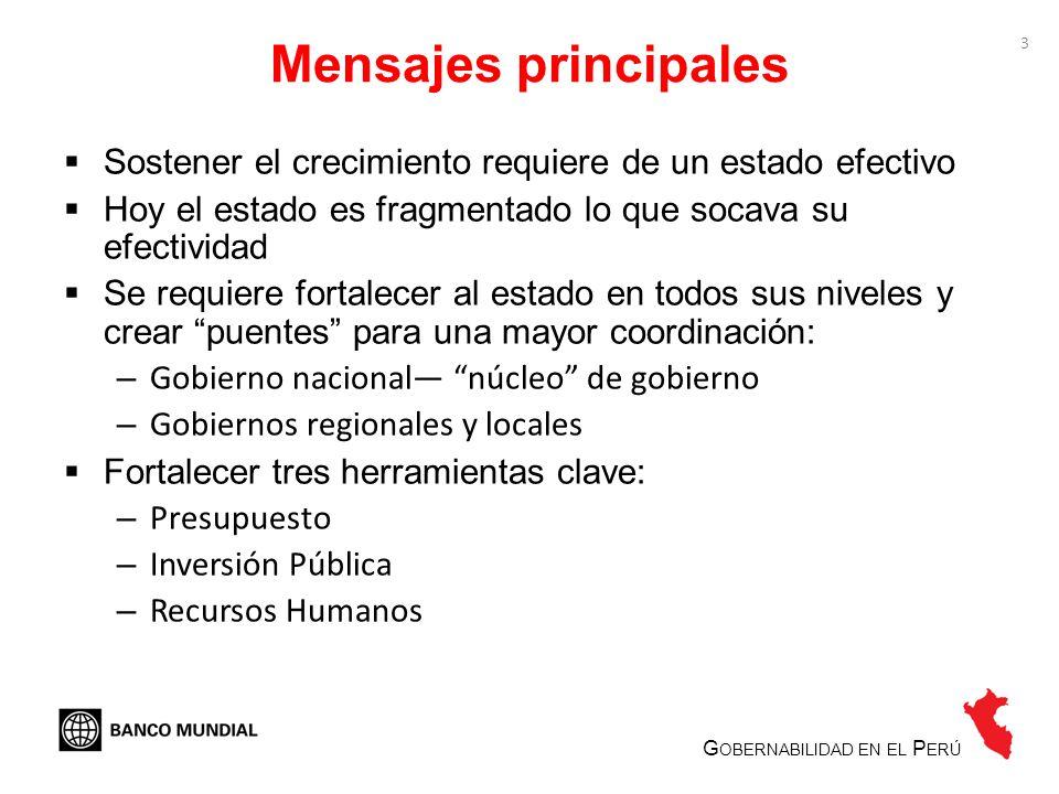 4 La efectividad de gobierno es limitada G OBERNABILIDAD EN EL P ERÚ Indicadores de gobernabilidad en el Perú, 1998 y 2009 Fuente: Banco Mundial (World Wide Governance Indicators).
