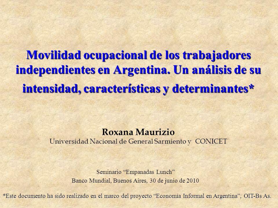 Movilidad ocupacional de los trabajadores independientes en Argentina. Un análisis de su intensidad, características y determinantes* Movilidad ocupac