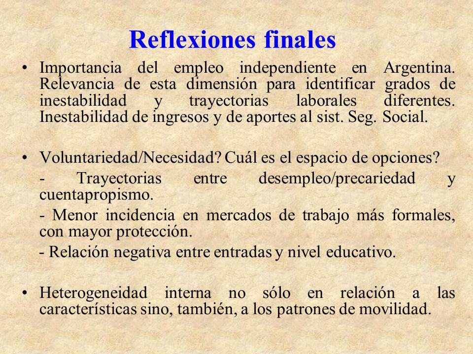 Reflexiones finales Importancia del empleo independiente en Argentina. Relevancia de esta dimensión para identificar grados de inestabilidad y trayect