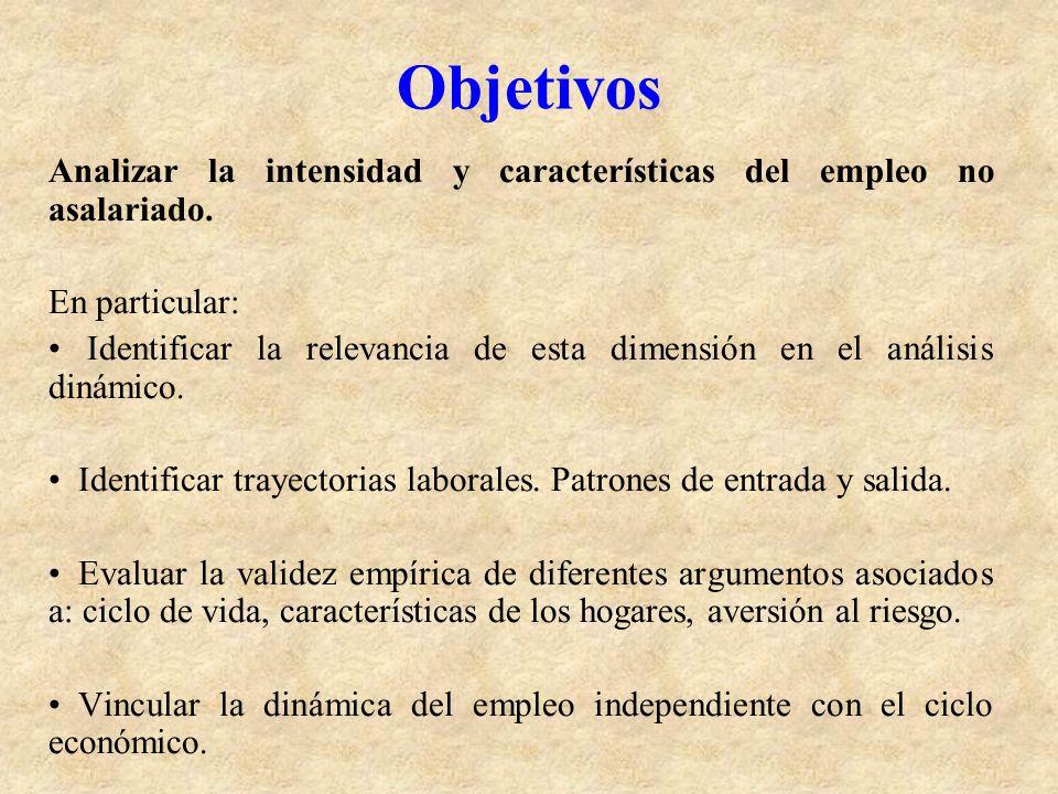Objetivos Analizar la intensidad y características del empleo no asalariado. En particular: Identificar la relevancia de esta dimensión en el análisis