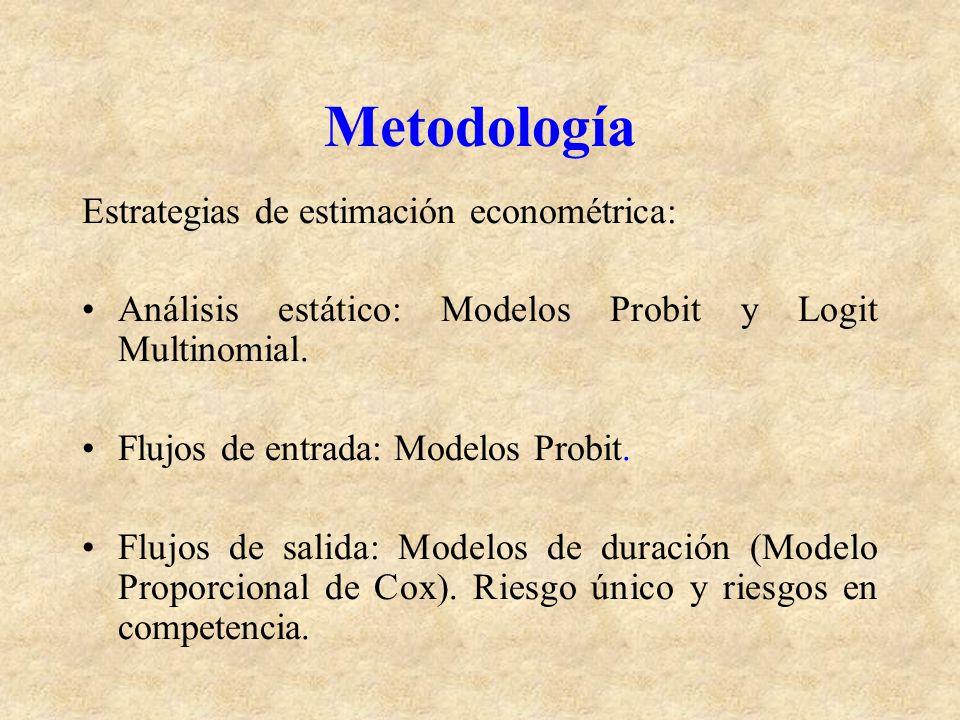 Metodología Estrategias de estimación econométrica: Análisis estático: Modelos Probit y Logit Multinomial. Flujos de entrada: Modelos Probit. Flujos d