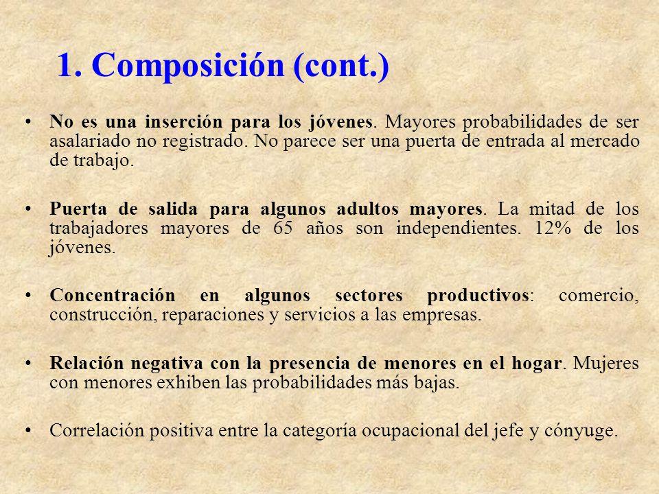 1. Composición (cont.) No es una inserción para los jóvenes. Mayores probabilidades de ser asalariado no registrado. No parece ser una puerta de entra