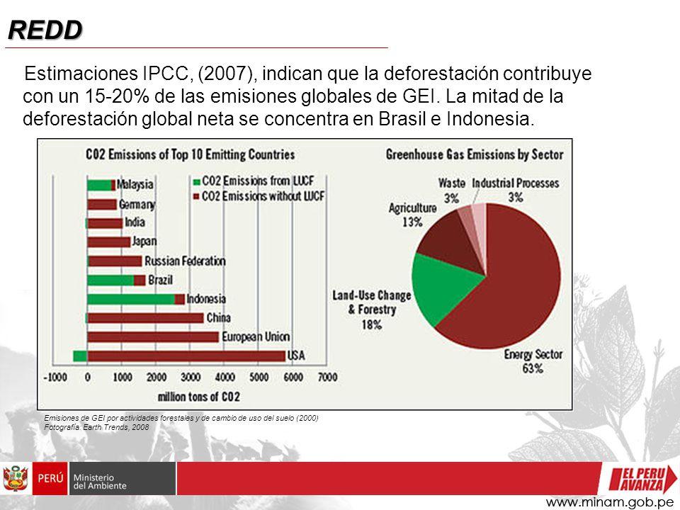 REDD Estimaciones IPCC, (2007), indican que la deforestación contribuye con un 15-20% de las emisiones globales de GEI.