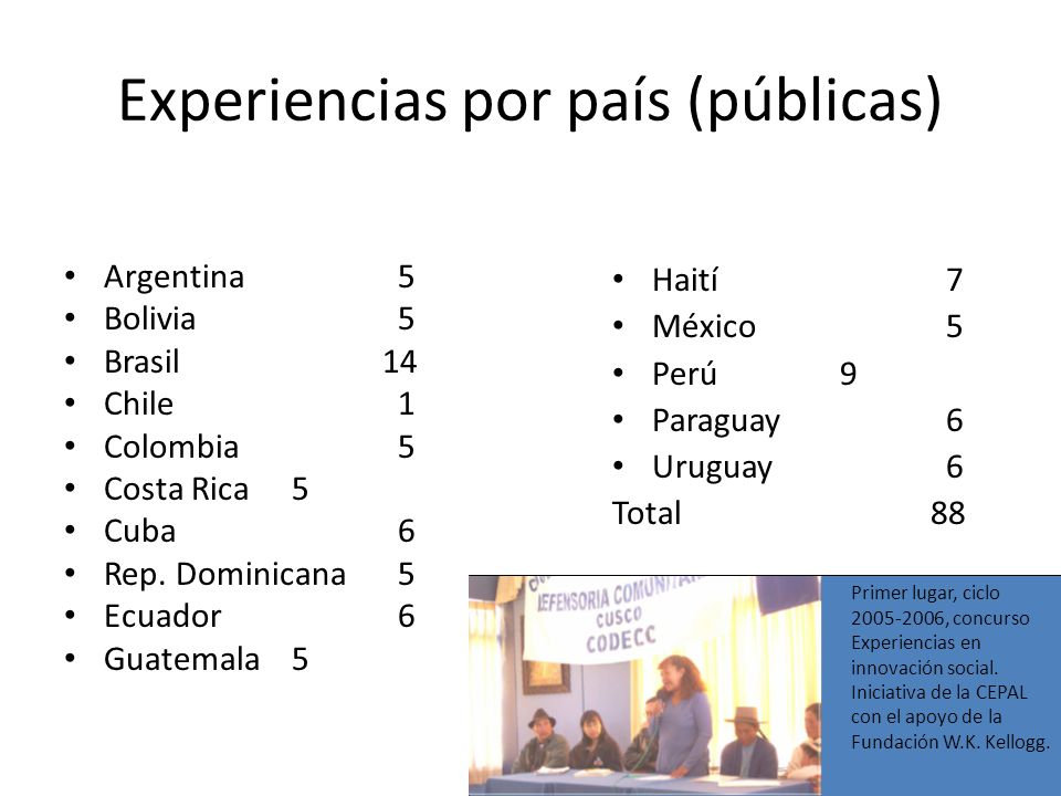 Experiencias por país (públicas) Argentina 5 Bolivia 5 Brasil14 Chile 1 Colombia 5 Costa Rica 5 Cuba 6 Rep.