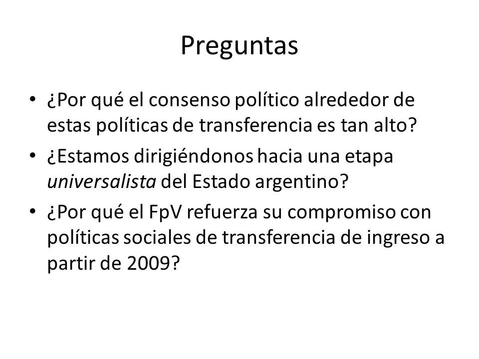 Preguntas ¿Por qué el consenso político alrededor de estas políticas de transferencia es tan alto.