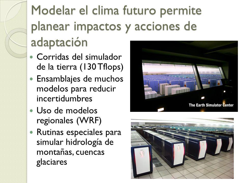Modelar el clima futuro permite planear impactos y acciones de adaptación Corridas del simulador de la tierra (130 Tflops) Ensamblajes de muchos modelos para reducir incertidumbres Uso de modelos regionales (WRF) Rutinas especiales para simular hidrología de montañas, cuencas glaciares