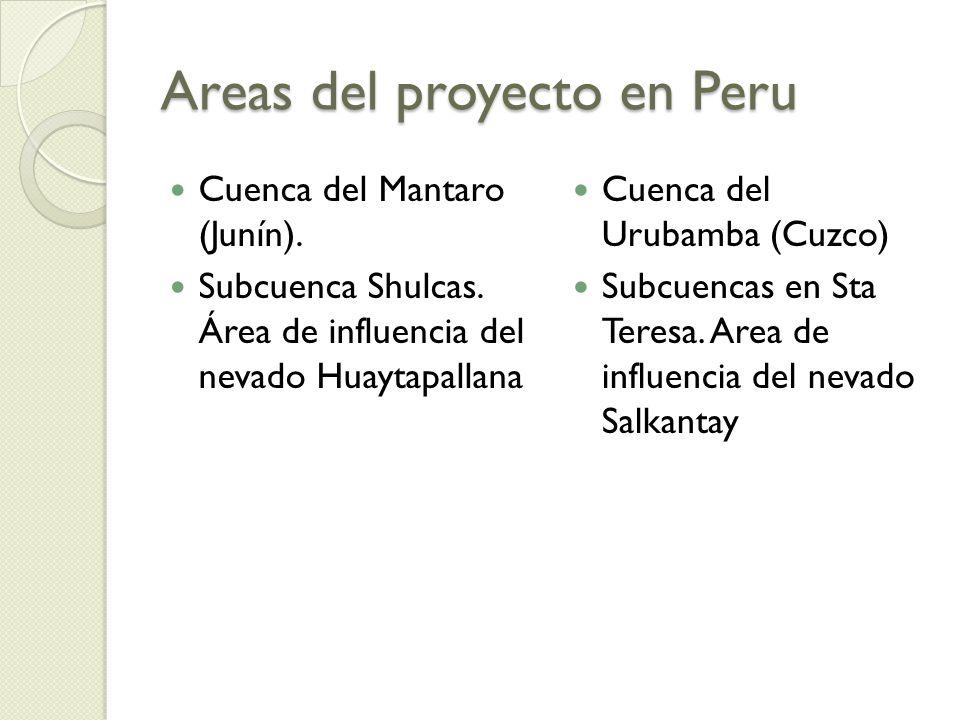 Areas del proyecto en Peru Cuenca del Mantaro (Junín). Subcuenca Shulcas. Área de influencia del nevado Huaytapallana Cuenca del Urubamba (Cuzco) Subc
