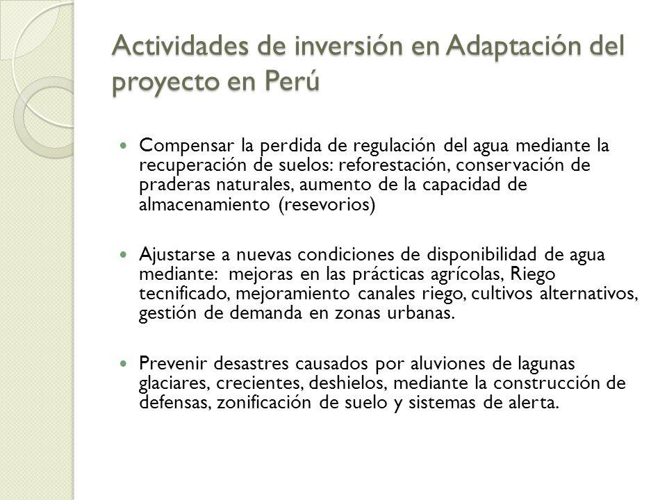 Actividades de inversión en Adaptación del proyecto en Perú Compensar la perdida de regulación del agua mediante la recuperación de suelos: reforestac