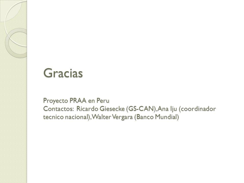 Gracias Proyecto PRAA en Peru Contactos: Ricardo Giesecke (GS-CAN), Ana Iju (coordinador tecnico nacional), Walter Vergara (Banco Mundial)