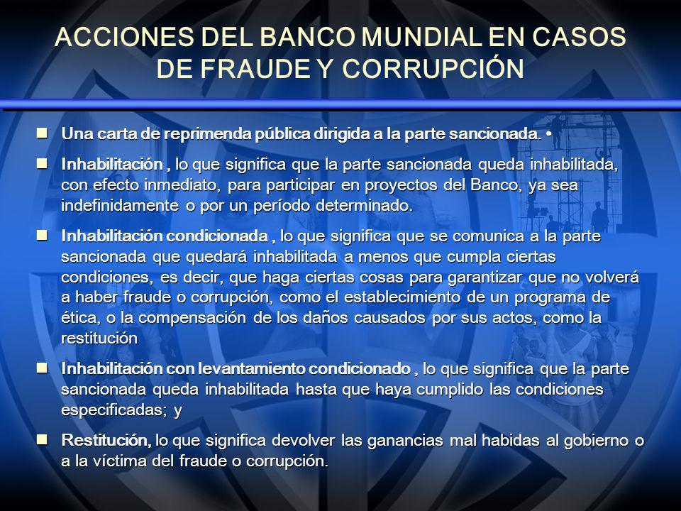 ACCIONES DEL BANCO MUNDIAL EN CASOS DE FRAUDE Y CORRUPCIÓN Una carta de reprimenda pública dirigida a la parte sancionada. Una carta de reprimenda púb