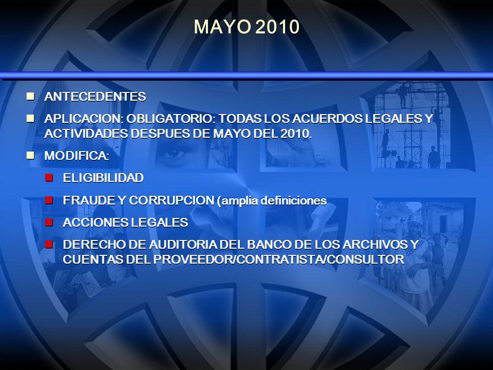 MAYO 2010 ANTECEDENTES ANTECEDENTES APLICACION: OBLIGATORIO: TODAS LOS ACUERDOS LEGALES Y ACTIVIDADES DESPUES DE MAYO DEL 2010. APLICACION: OBLIGATORI