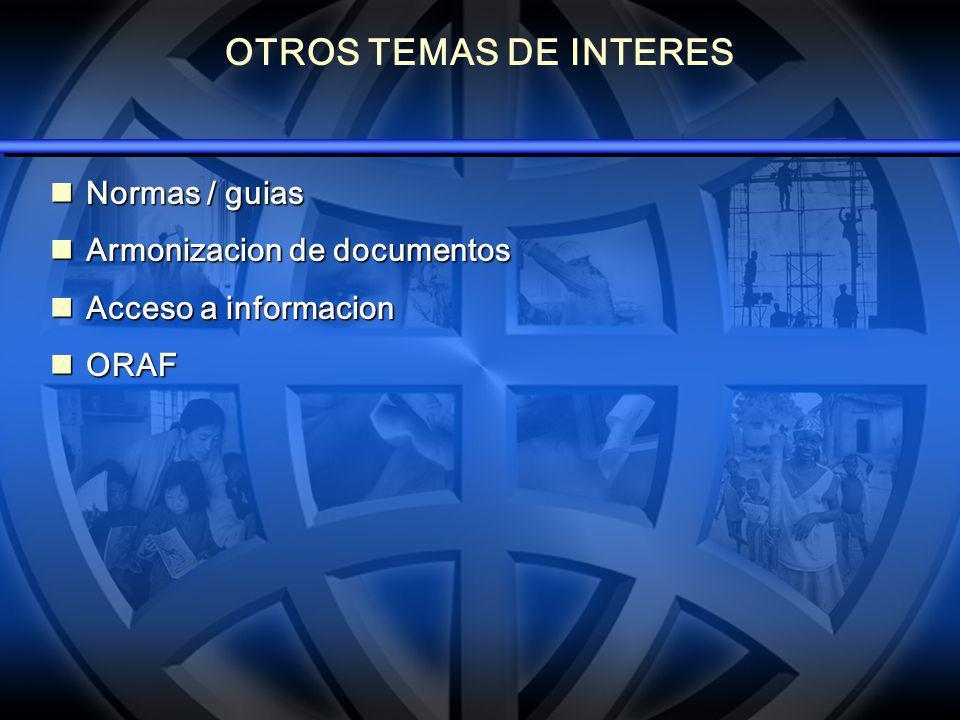OTROS TEMAS DE INTERES Normas / guias Normas / guias Armonizacion de documentos Armonizacion de documentos Acceso a informacion Acceso a informacion ORAF ORAF