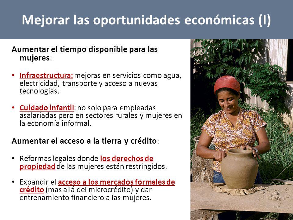 Aumentar el tiempo disponible para las mujeres: Infraestructura: mejoras en servicios como agua, electricidad, transporte y acceso a nuevas tecnologías.