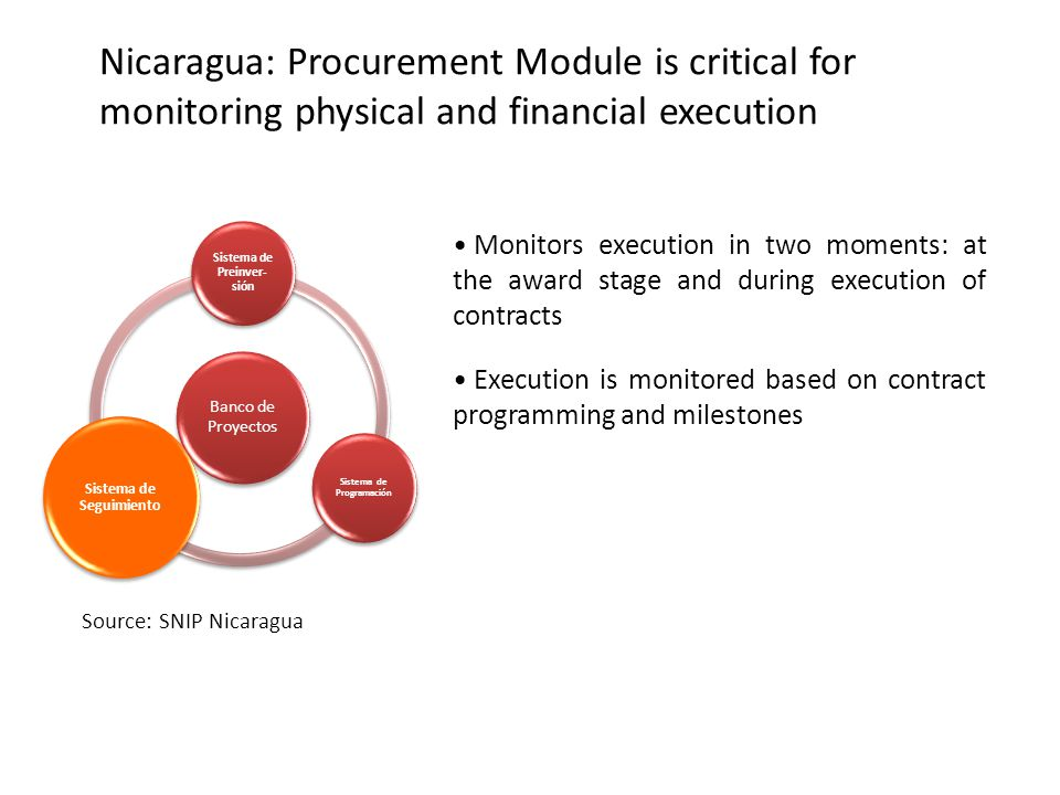 Nicaragua: Procurement Module is critical for monitoring physical and financial execution Monitors execution in two moments: at the award stage and during execution of contracts Execution is monitored based on contract programming and milestones Source: SNIP Nicaragua