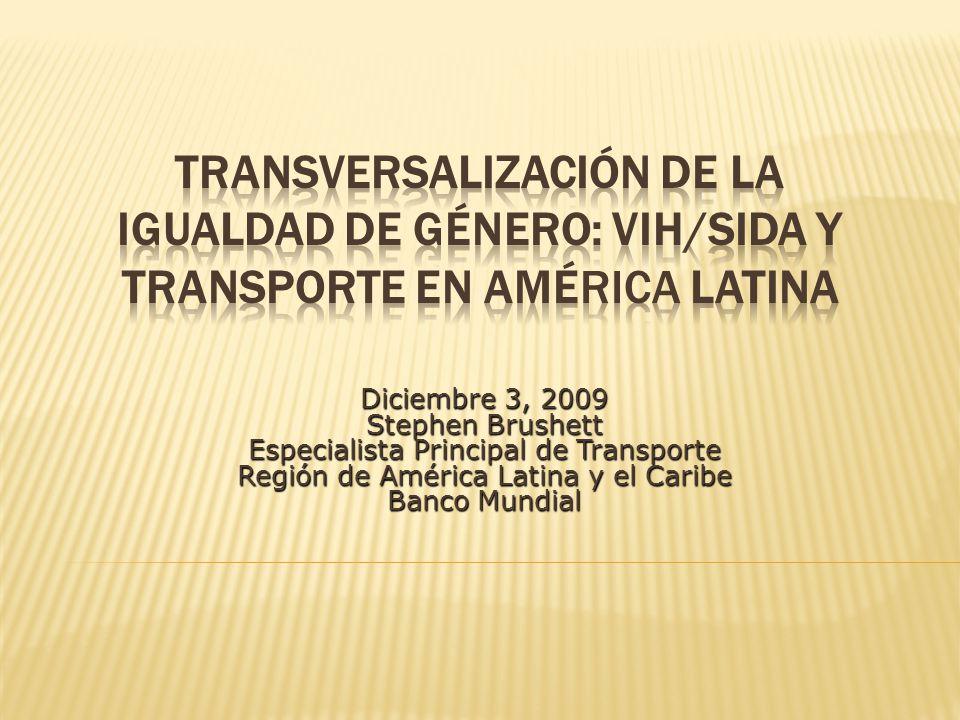 Diciembre 3, 2009 Stephen Brushett Especialista Principal de Transporte Región de América Latina y el Caribe Banco Mundial