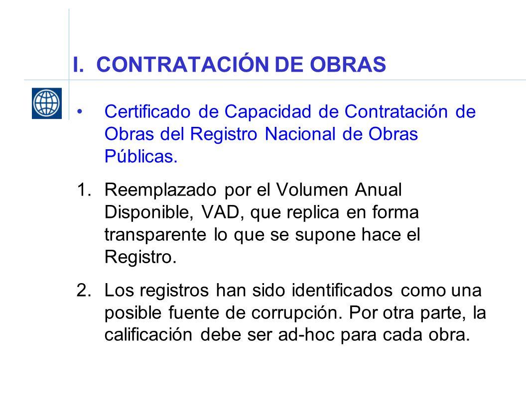 I. CONTRATACIÓN DE OBRAS Certificado de Capacidad de Contratación de Obras del Registro Nacional de Obras Públicas. 1.Reemplazado por el Volumen Anual