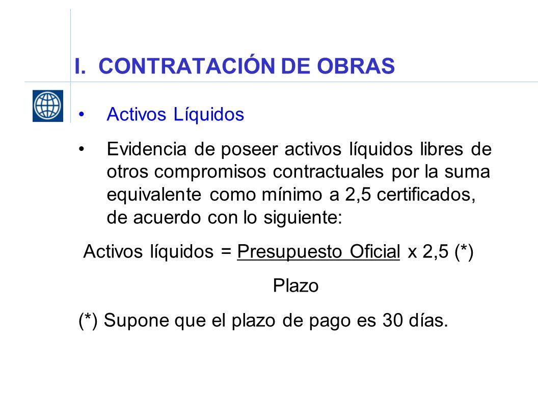 I. CONTRATACIÓN DE OBRAS Activos Líquidos Evidencia de poseer activos líquidos libres de otros compromisos contractuales por la suma equivalente como