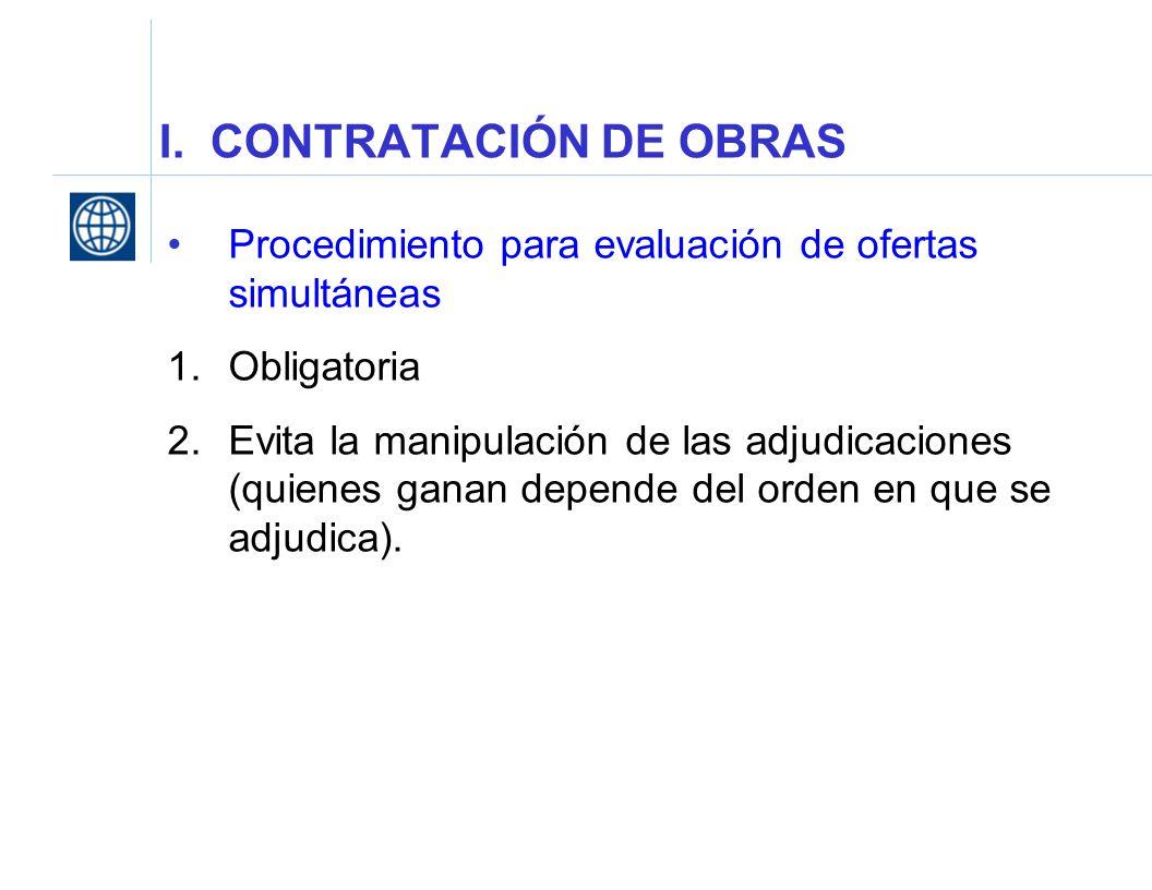 I. CONTRATACIÓN DE OBRAS Procedimiento para evaluación de ofertas simultáneas 1.Obligatoria 2.Evita la manipulación de las adjudicaciones (quienes gan