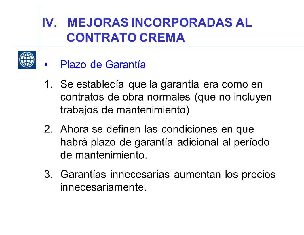 IV. MEJORAS INCORPORADAS AL CONTRATO CREMA Plazo de Garantía 1.Se establecía que la garantía era como en contratos de obra normales (que no incluyen t