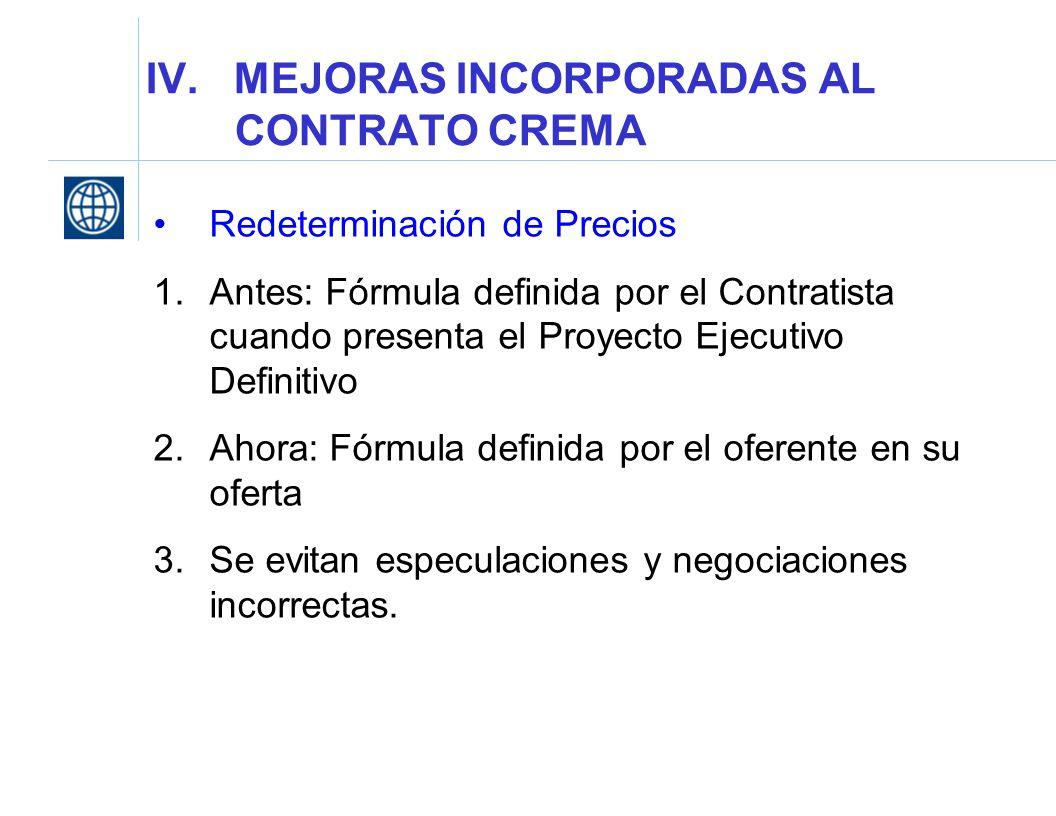 IV. MEJORAS INCORPORADAS AL CONTRATO CREMA Redeterminación de Precios 1.Antes: Fórmula definida por el Contratista cuando presenta el Proyecto Ejecuti
