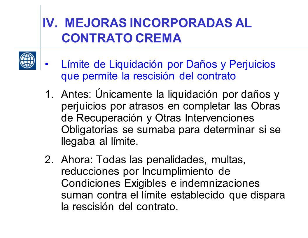 IV. MEJORAS INCORPORADAS AL CONTRATO CREMA Límite de Liquidación por Daños y Perjuicios que permite la rescisión del contrato 1.Antes: Únicamente la l