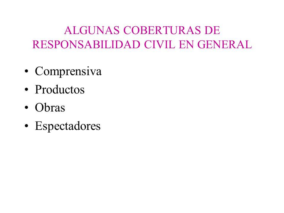 ALGUNAS COBERTURAS DE RESPONSABILIDAD CIVIL EN GENERAL Comprensiva Productos Obras Espectadores
